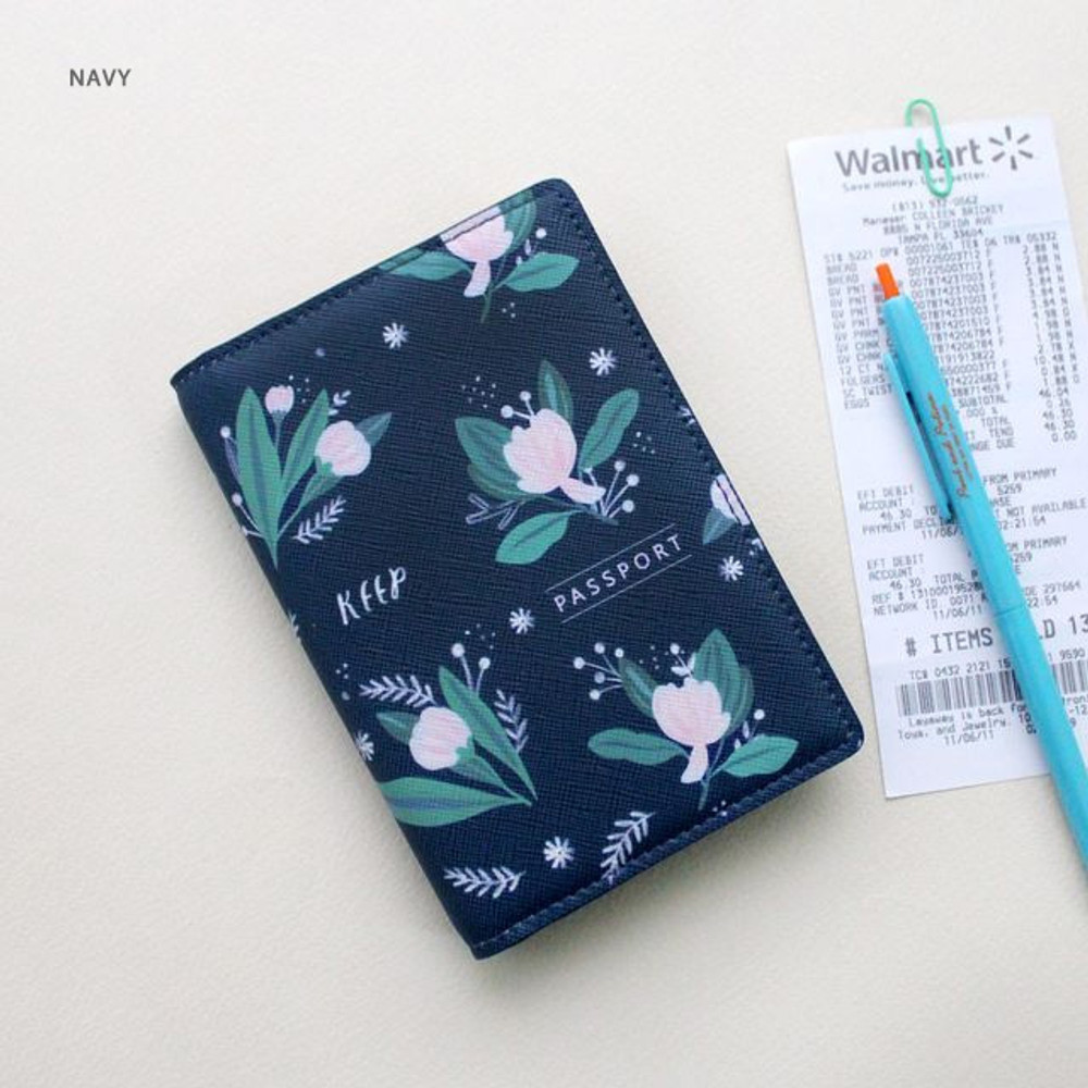 Navy - Rim with you pattern passport cover case holder