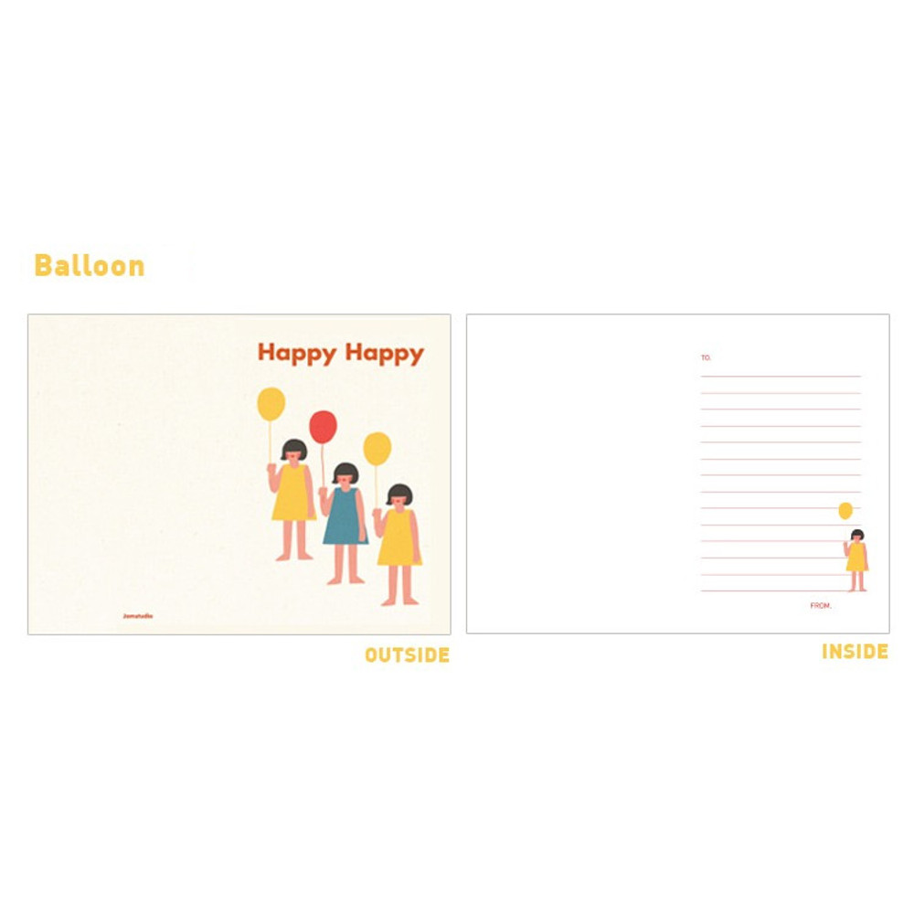 Balloon - Jam studio Jam birthday card with envelope