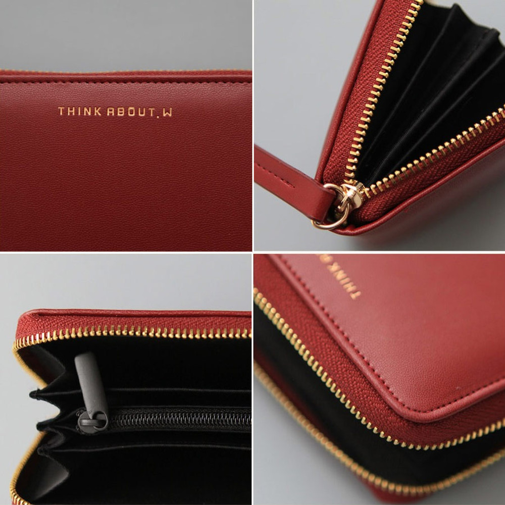 Detail of Think about accordion zip around card wallet