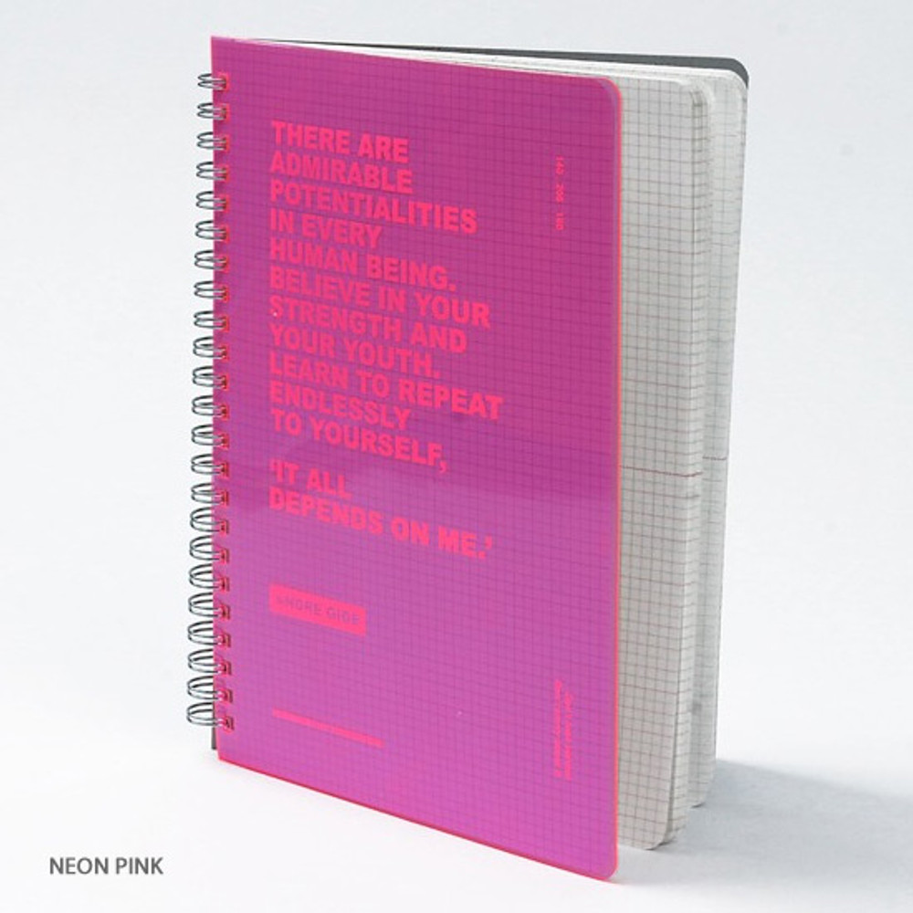 Neon pink - Wanna This Clear spiral grid notebook