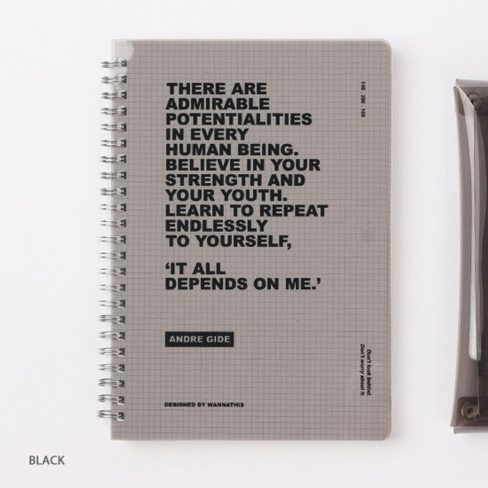 Black - Wanna This Clear spiral grid notebook