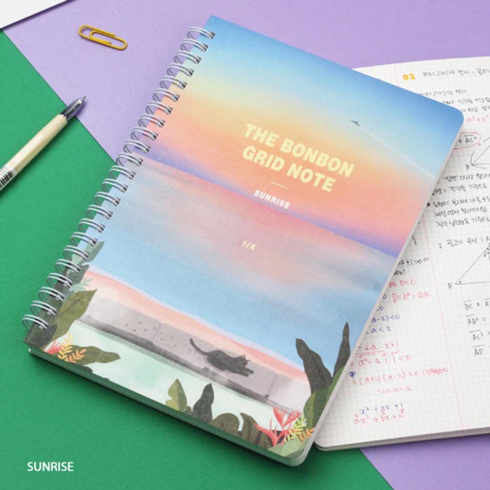 Sunrise - Wanna This The Bon Bon illustration spiral grid notebook