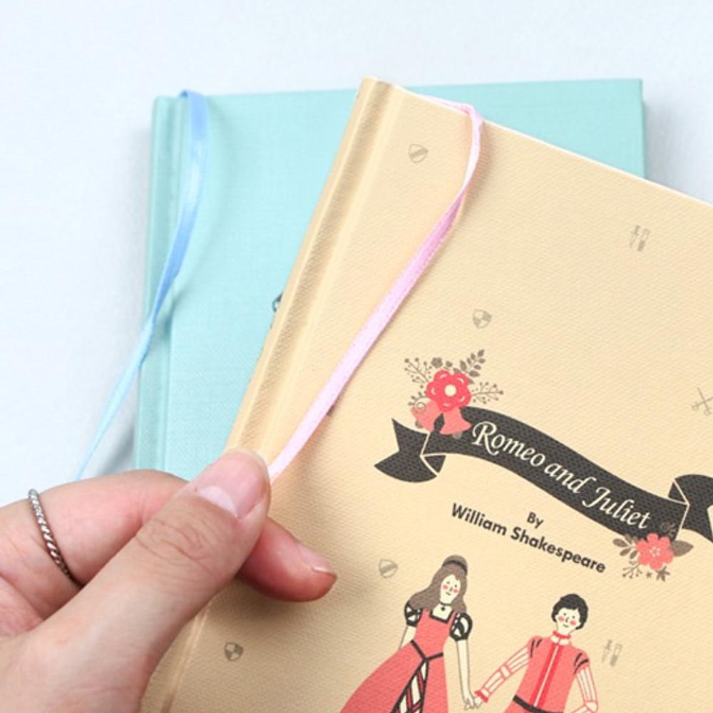 Ribbon bookmark - Bookfriends World literature hardcover lined notebook