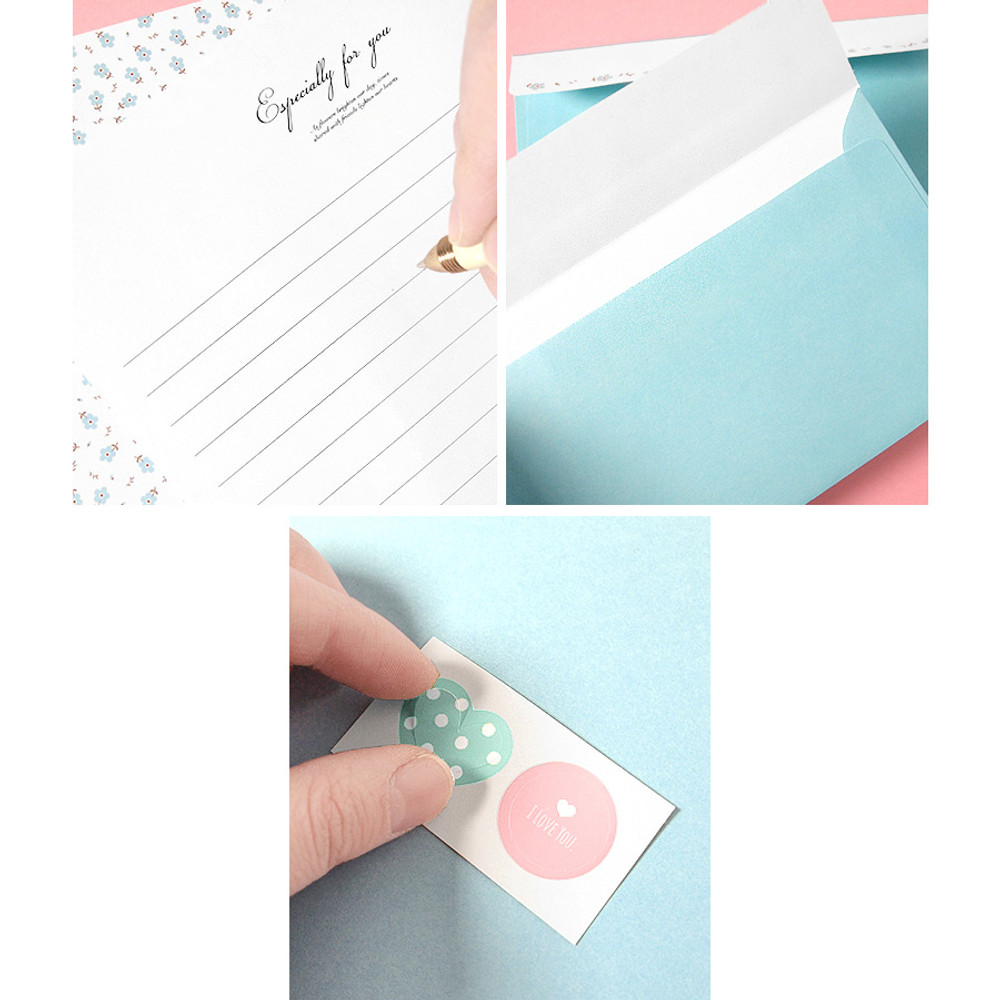 Detail of Soft flower pattern letter paper and envelope