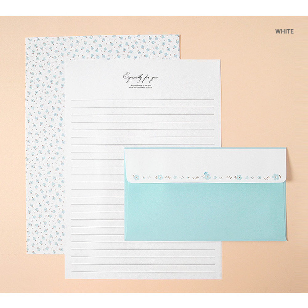White - Soft flower pattern letter paper and envelope