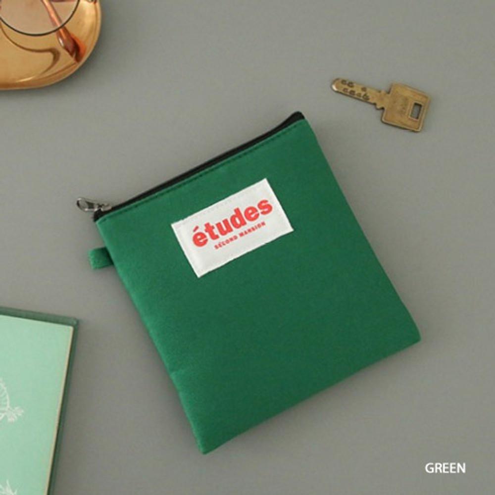 Green - Etudes slim cotton square pouch