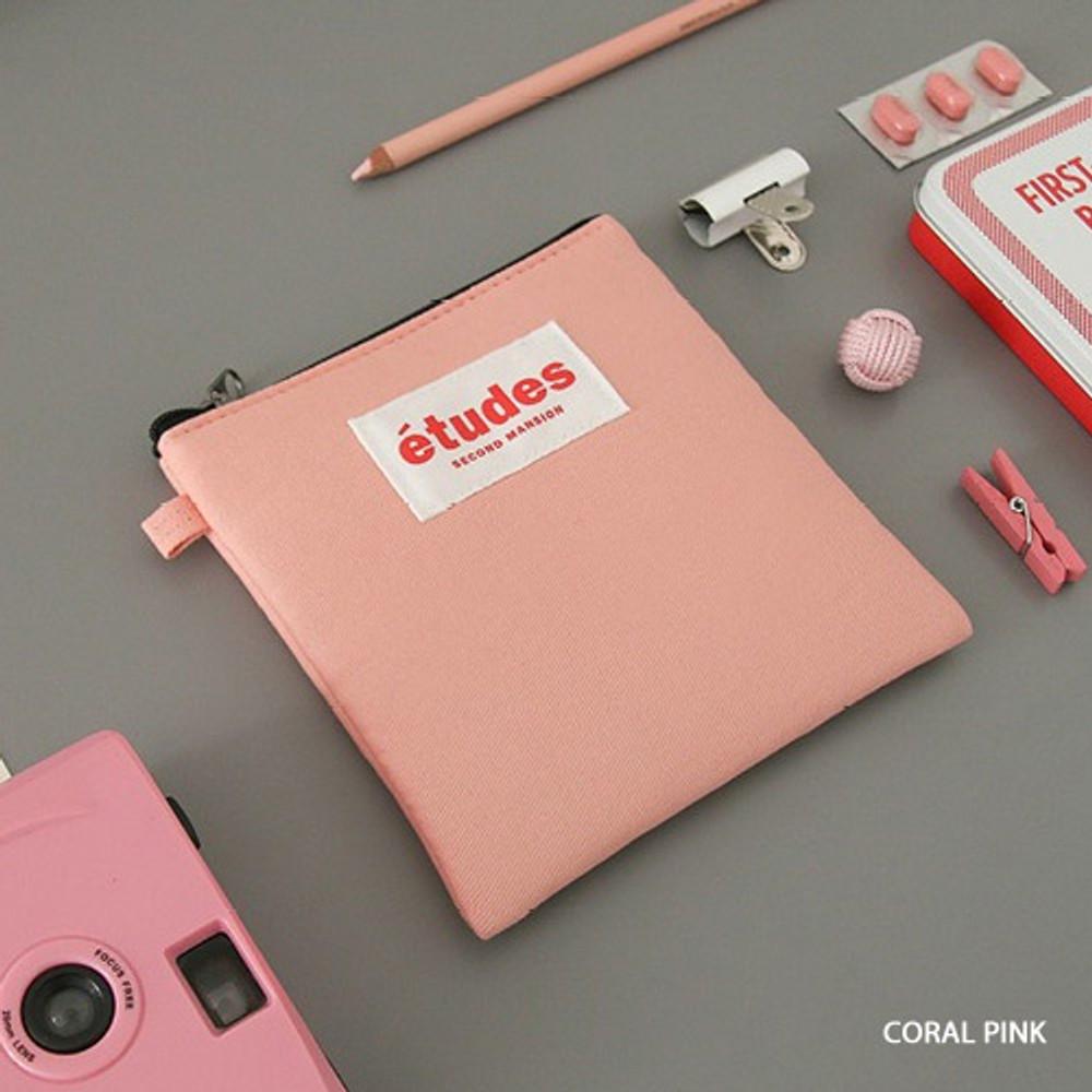 Coral pink - Etudes slim cotton square pouch