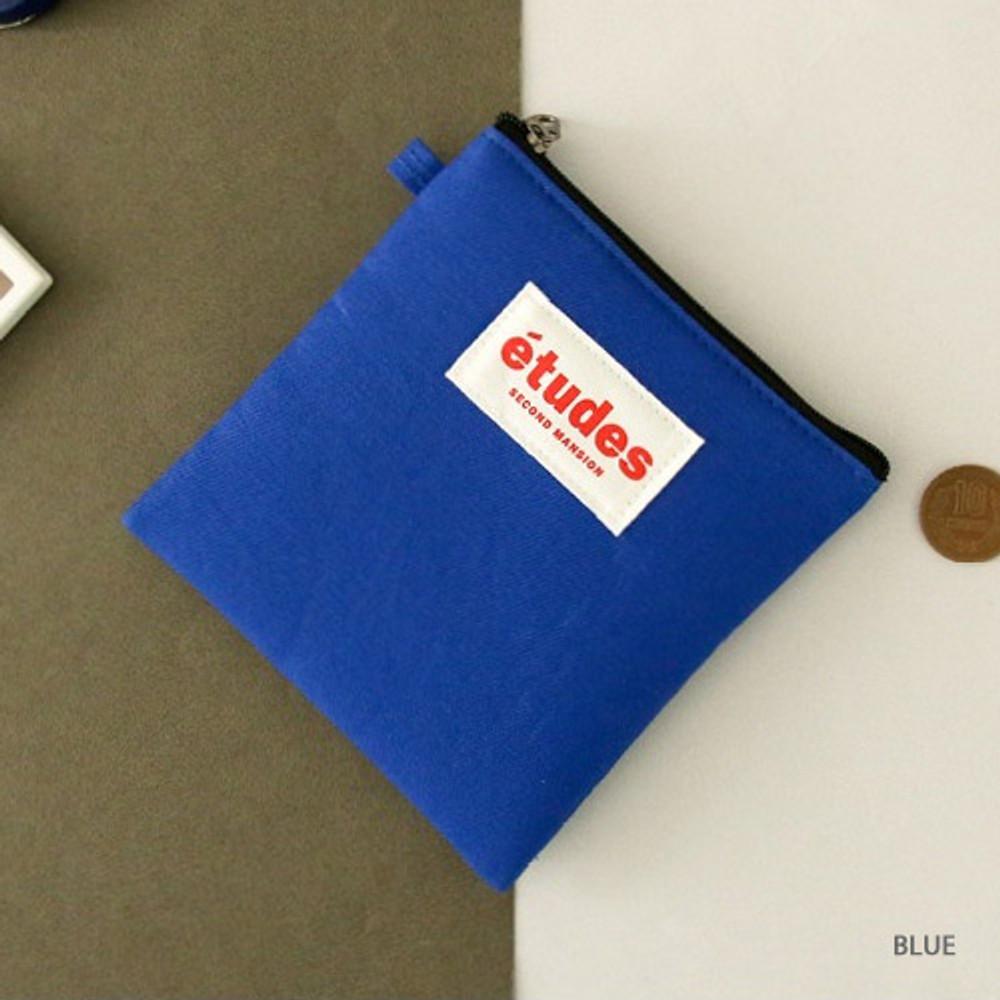 Blue - Etudes slim cotton square pouch