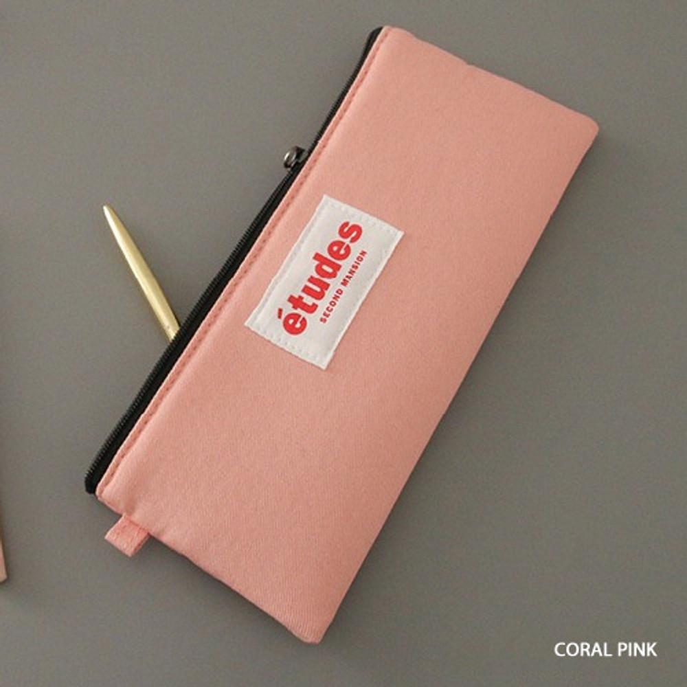 Coral pink - Etudes flat cotton pencil pouch