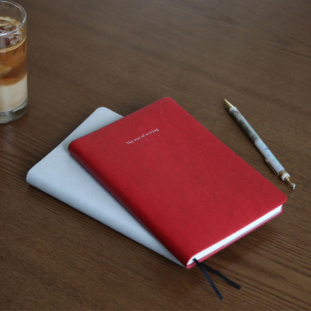 Retro red - Notable memory quad lined and plain notebook