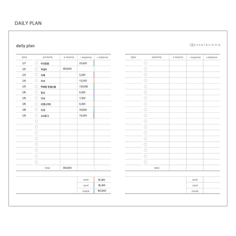 Daily plan - Poche cash cash book planner