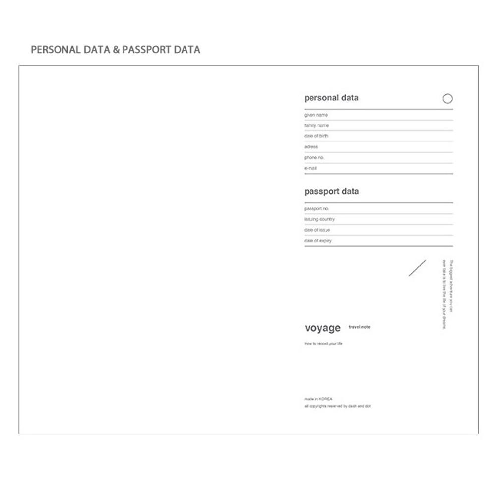 Personal data - Poche voyage travel planner notebook