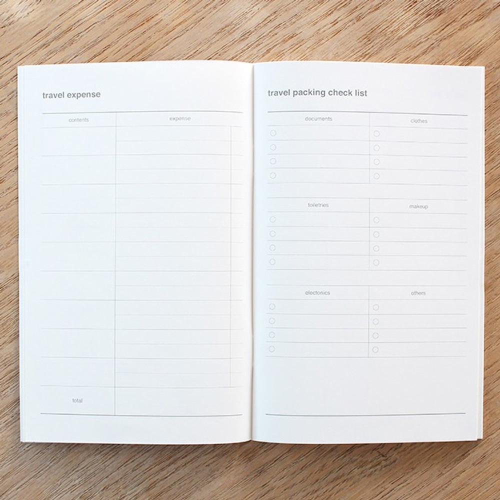 Travel expense, Travel checklist - Poche voyage travel planner notebook