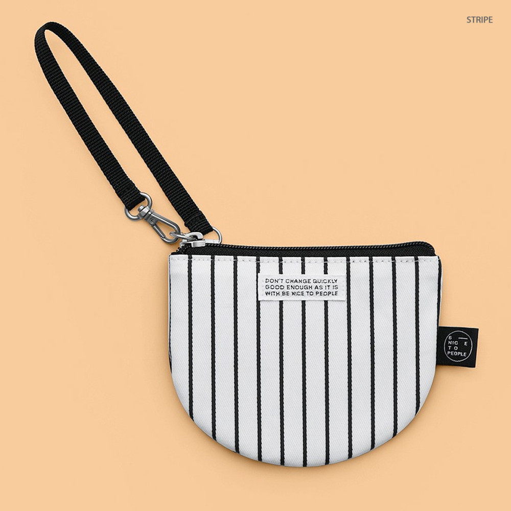 Stripe - BNTP Semicircle small zipper pouch with strap