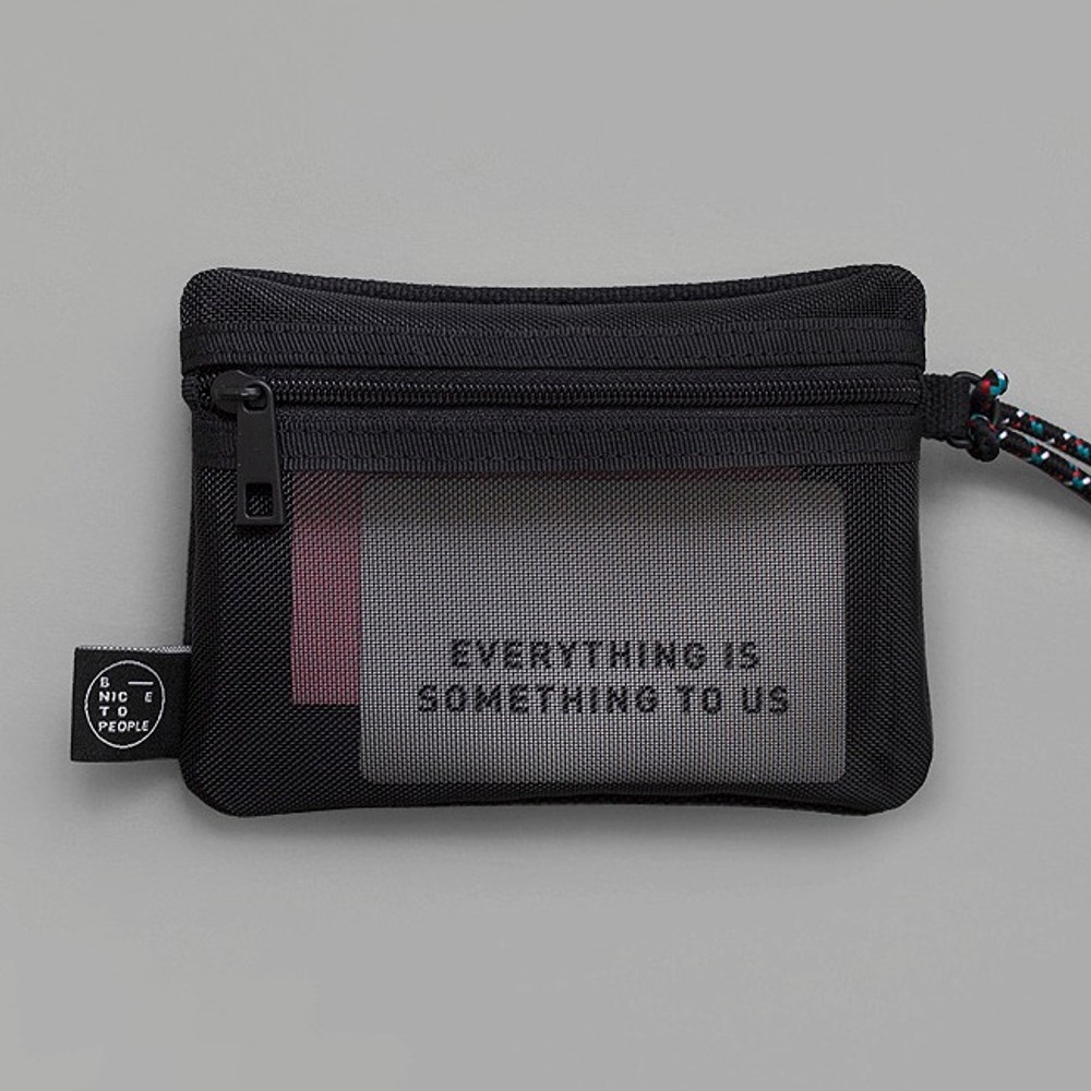 Back - BNTP Double pocket small zipper pouch with strap