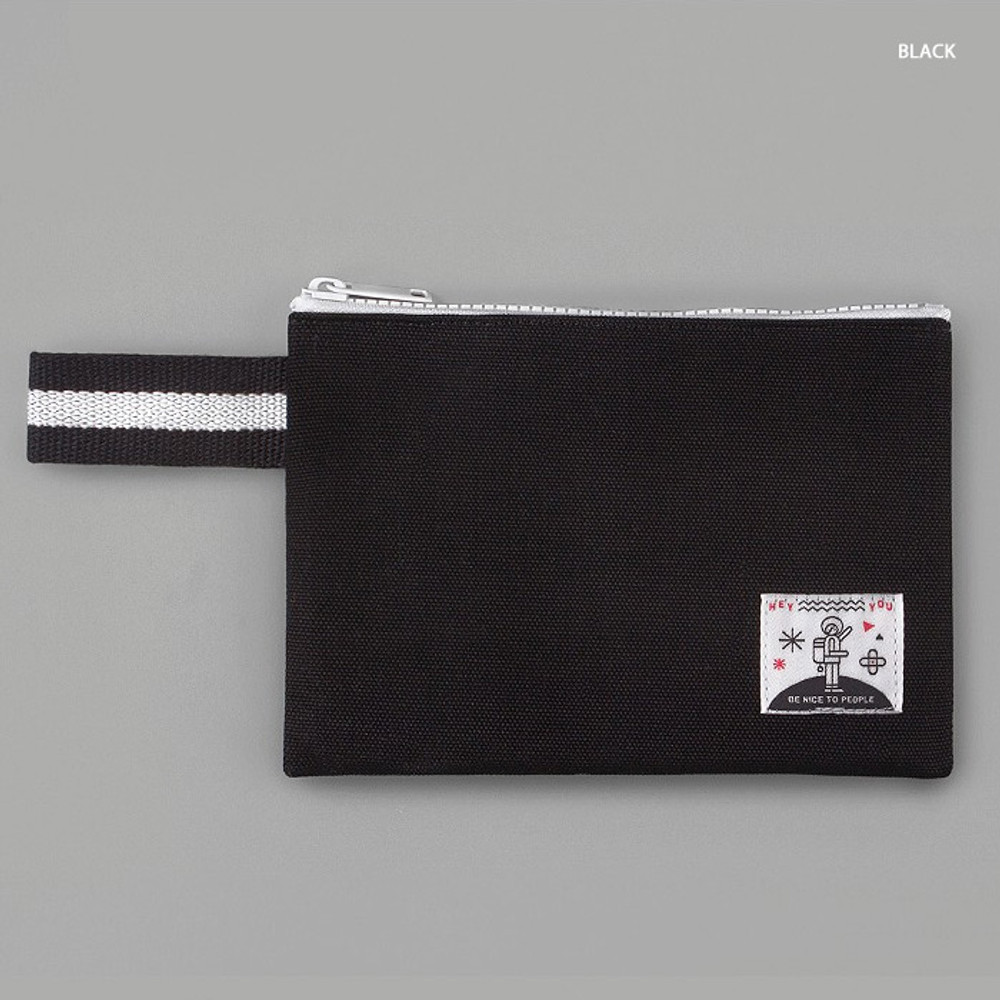Black - BNTP Hey you zipper pouch with strap