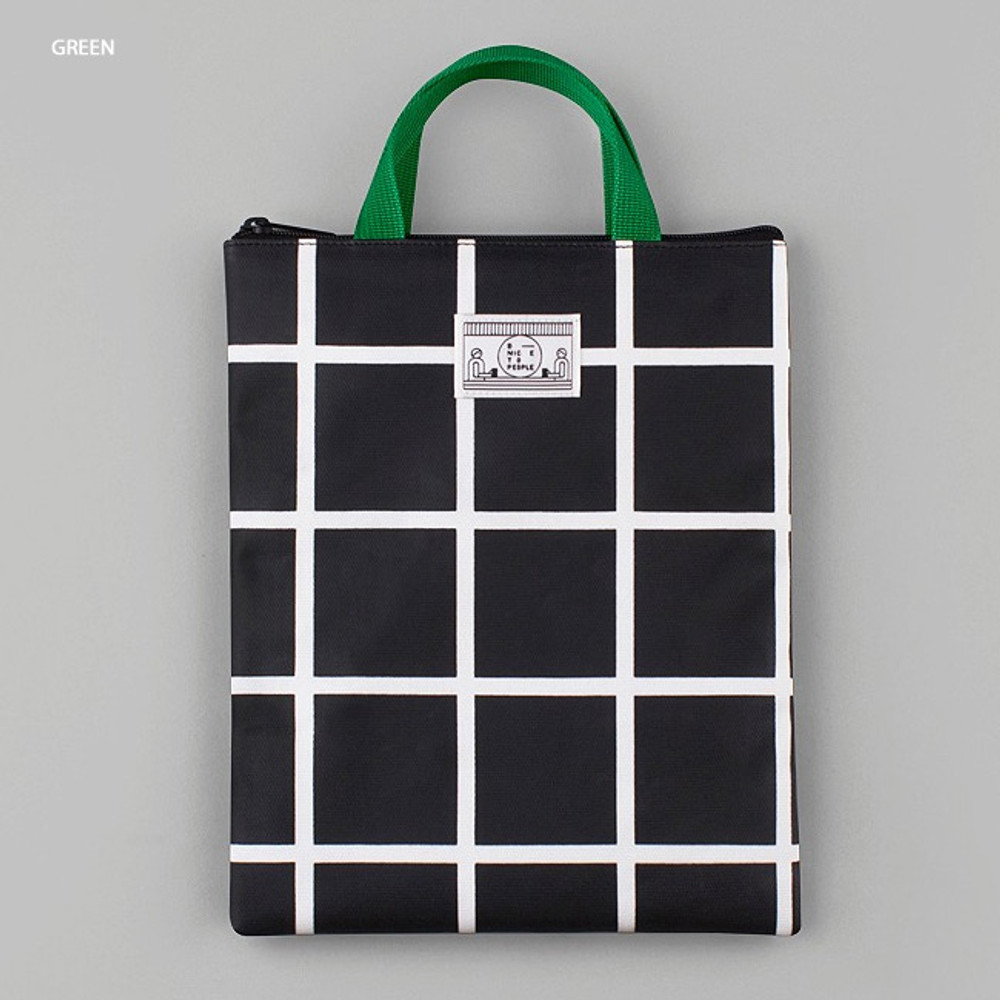 Green - BNTP Coated cotton medium document tote bag