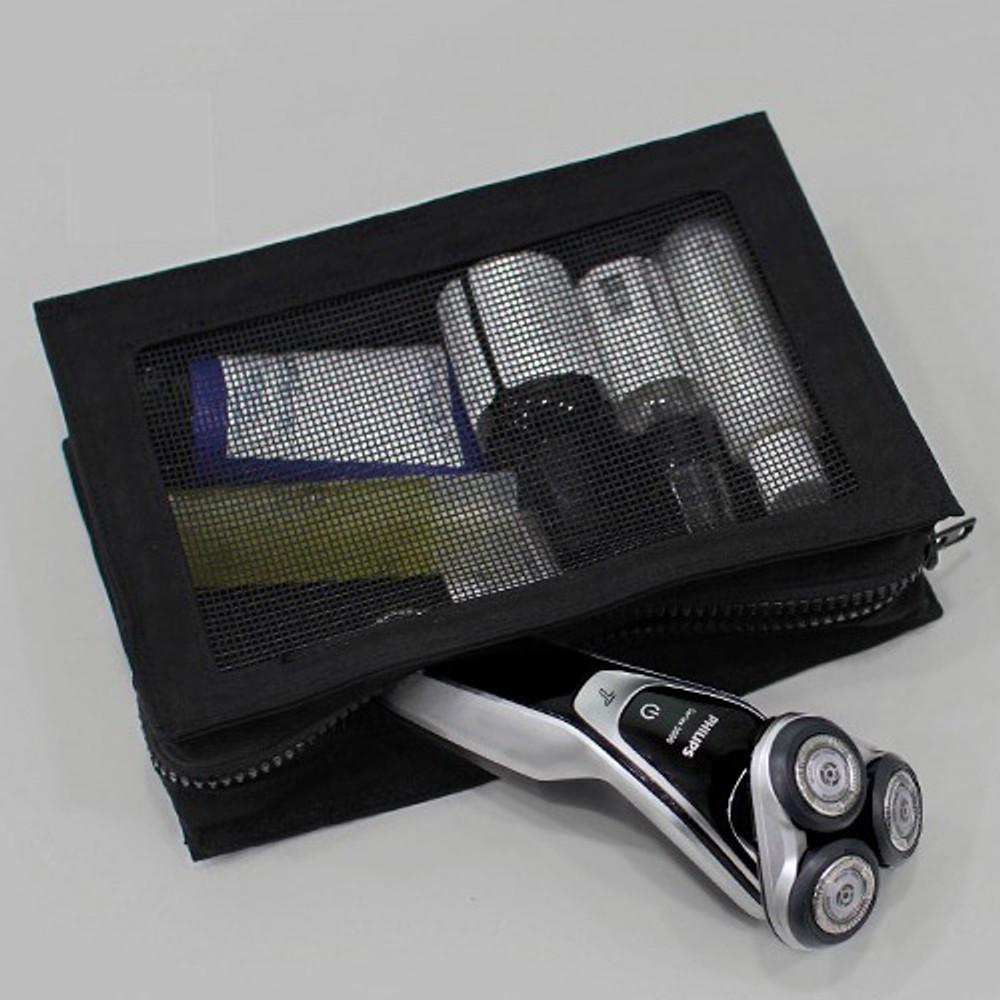 Black - BNTP Washer block square large zipper pouch