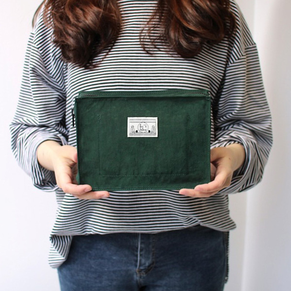 Green - BNTP Washer block square large zipper pouch