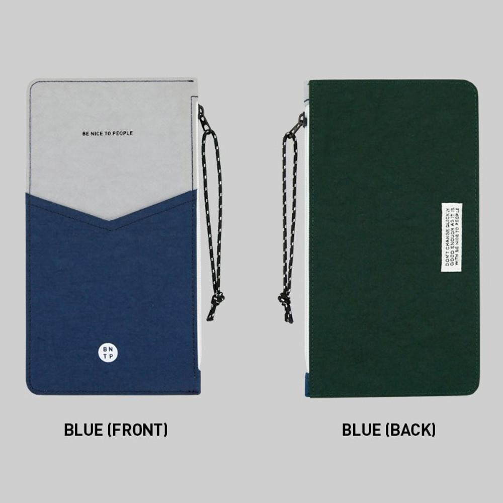 Blue - BNTP Washer flat long multi pouch