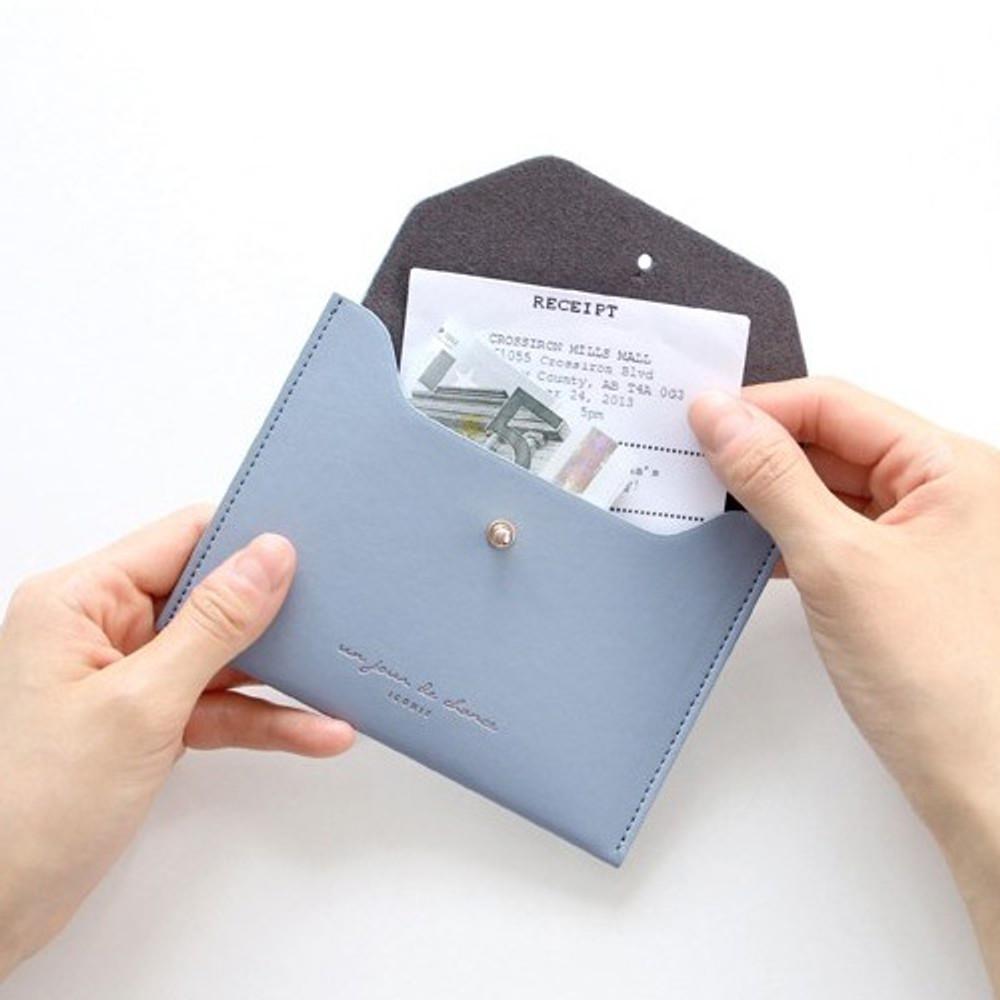 Pale blue - Un jour de chance pocket flat wallet