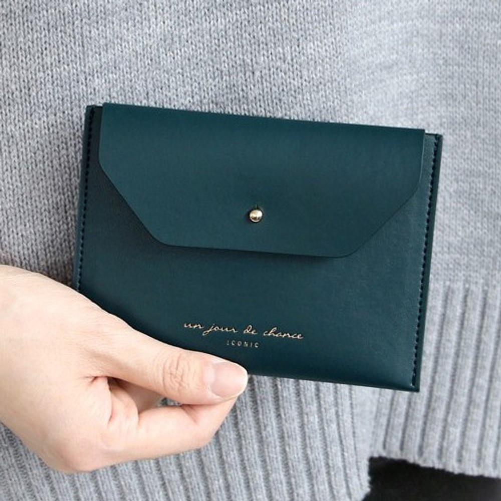 Peacock blue - Un jour de chance pocket flat wallet