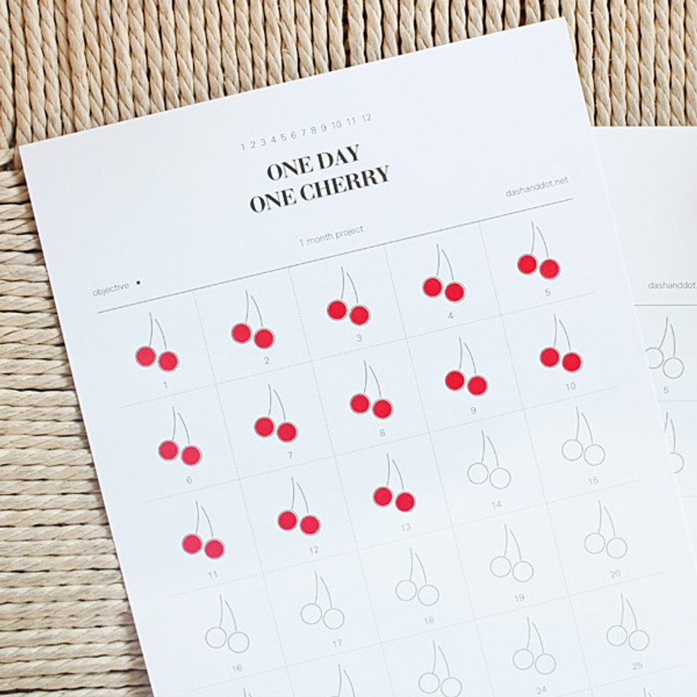 One day one cherry 30 days goal planning tracker
