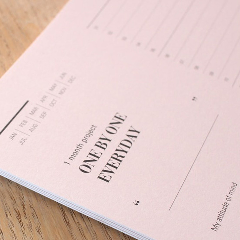 Detail of One day one pink 30 days goal planning tracker checklist