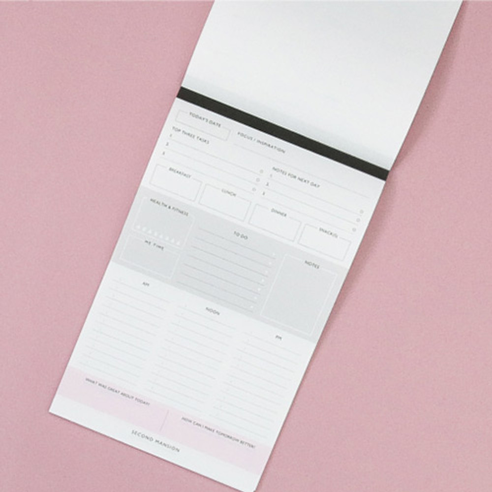 A5 size daily notepad planner