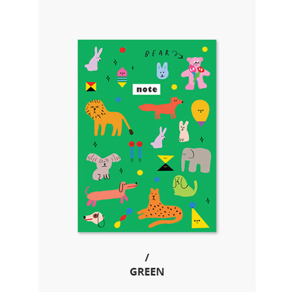 Green - Pattern mini small lined notebook