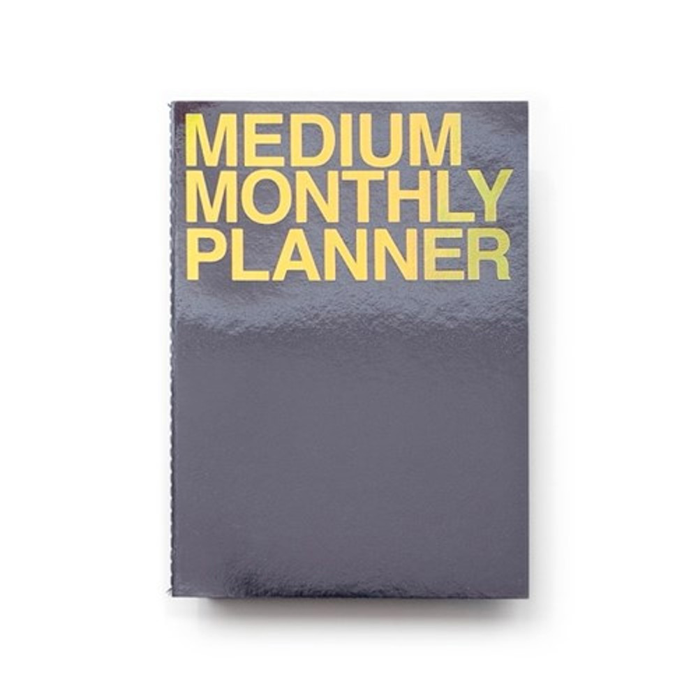 Metal black - Medium 16 months undated monthly planner