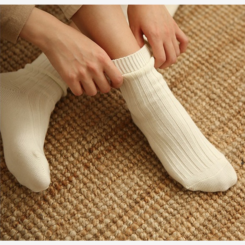 Ivory - Dailylike Comfortable yours for life knit rib women socks