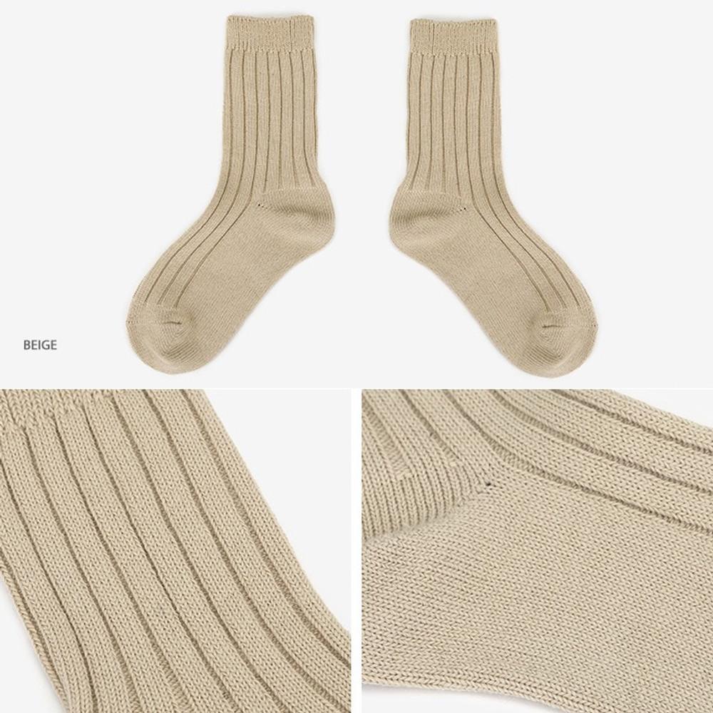 Beige - Dailylike Comfortable yours for life knit rib women socks