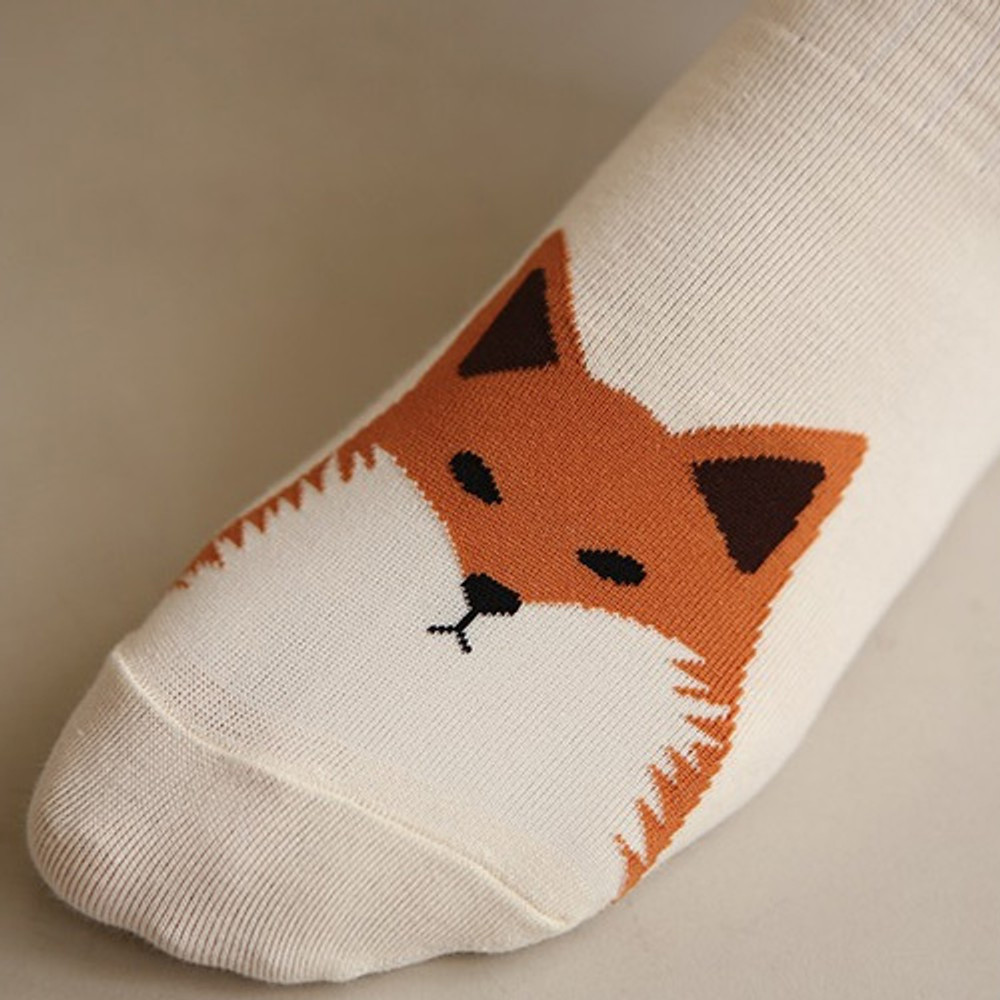 Winter fox - Dailylike Comfortable yours for life animal rib women socks