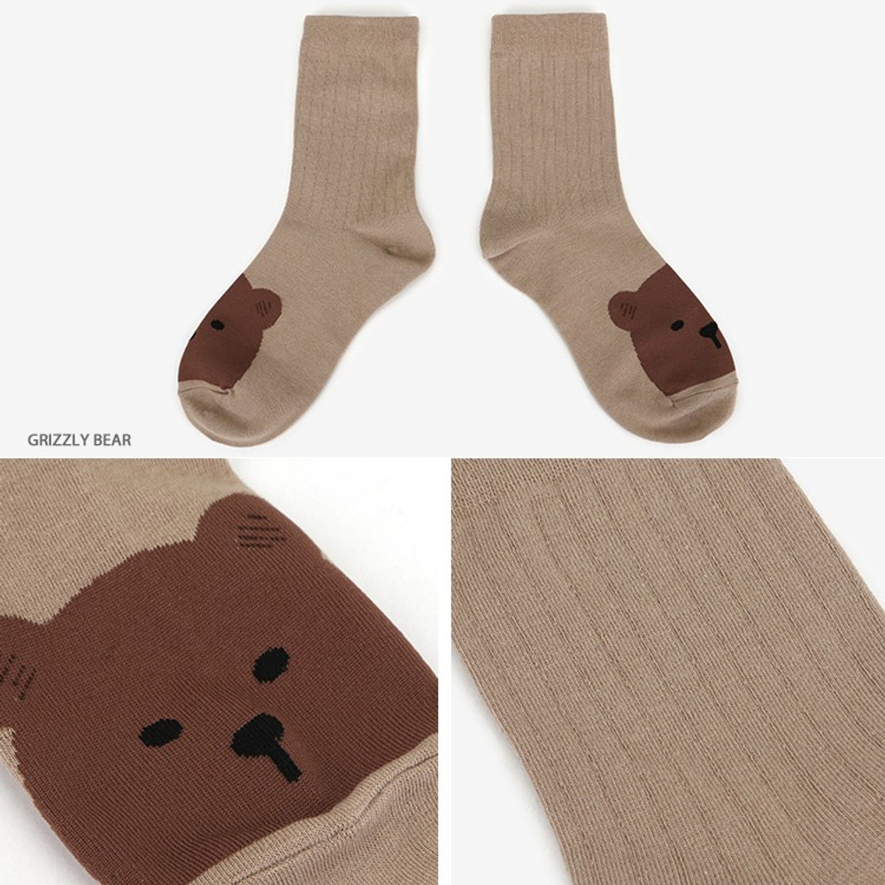 Grizzly bear - Dailylike Comfortable yours for life animal rib women socks