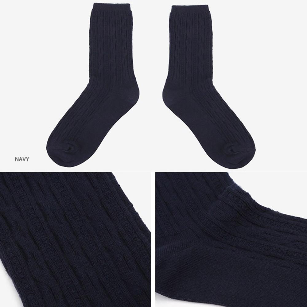 Navy - Dailylike Comfortable yours for life lycra twist women socks