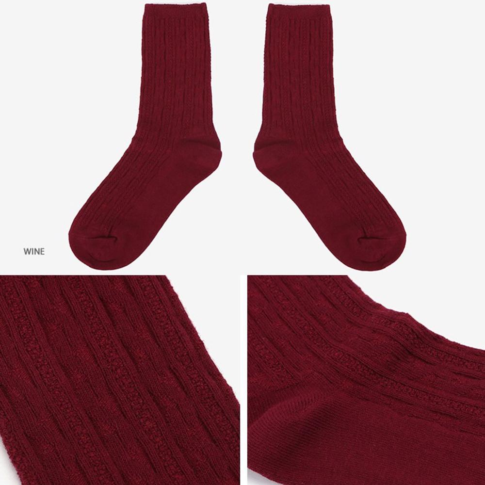 Wine -Dailylike Comfortable yours for life lycra twist women socks