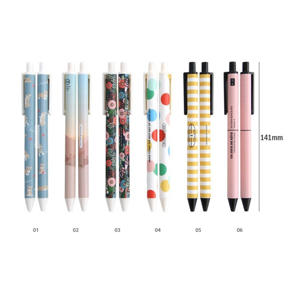 Size - ICONIC Unique pattern knock retractable pen 0.38mm ver4