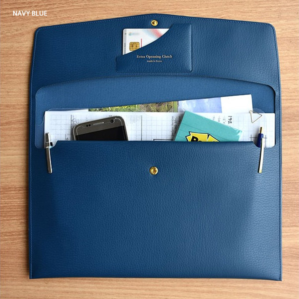 Navy blue - Play obje Extra opening of new days file bag clutch pouch
