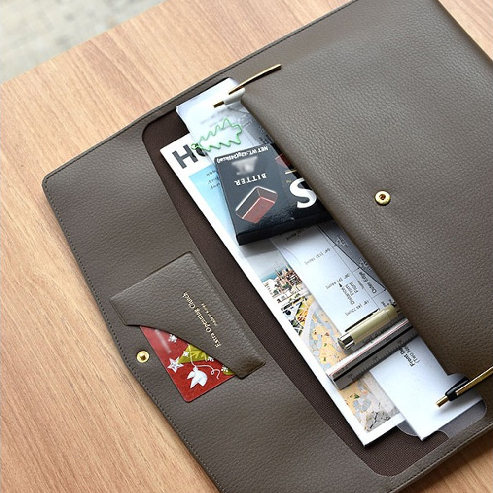 French brown - Play obje Extra opening of new days file bag clutch pouch