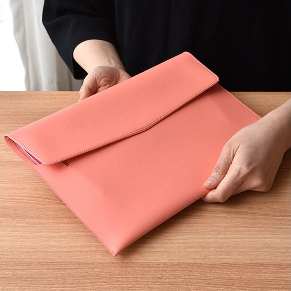 Coral pink - Play obje Extra opening of new days file bag clutch pouch
