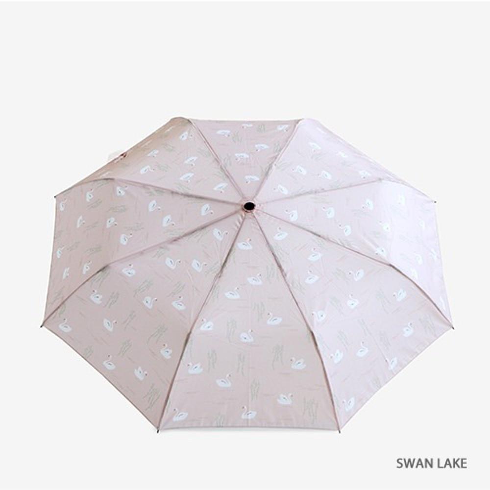 Swan lake - Enjoy your life foldable pattern umbrella