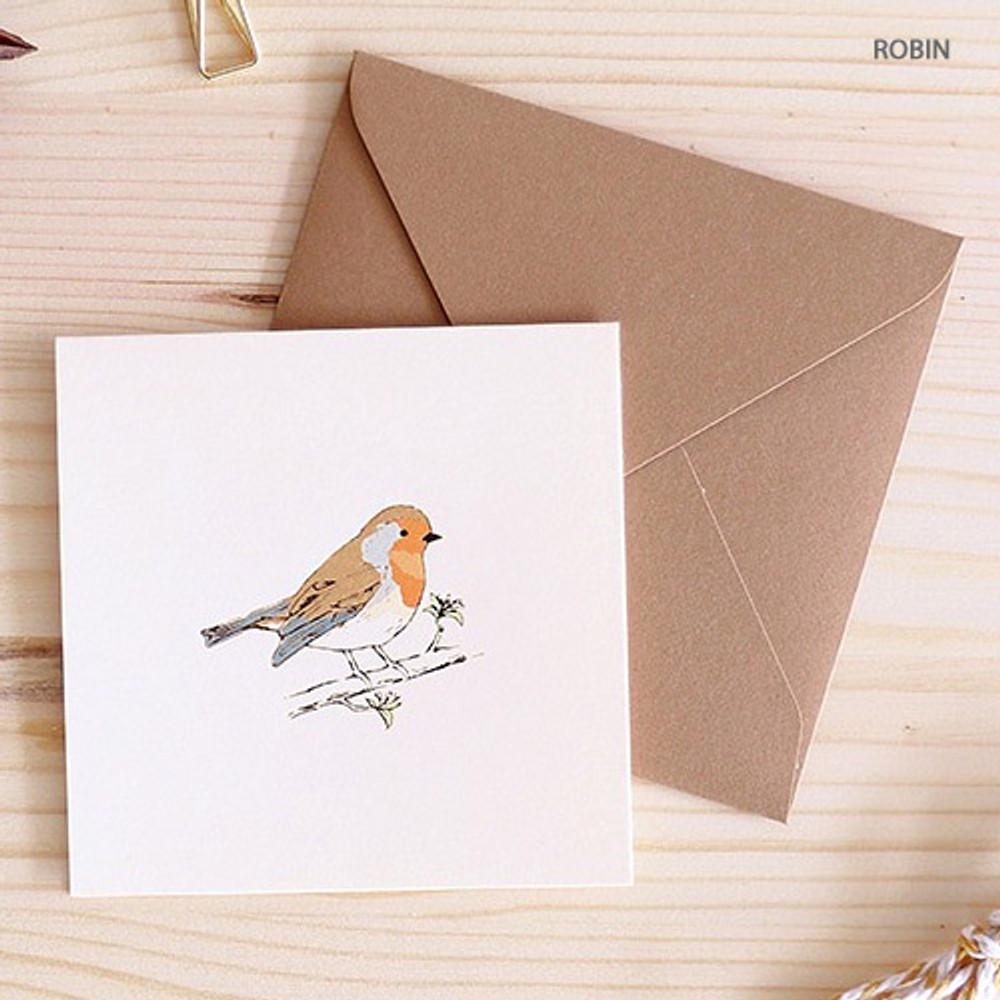 Robin - From the forest mini card with envelope