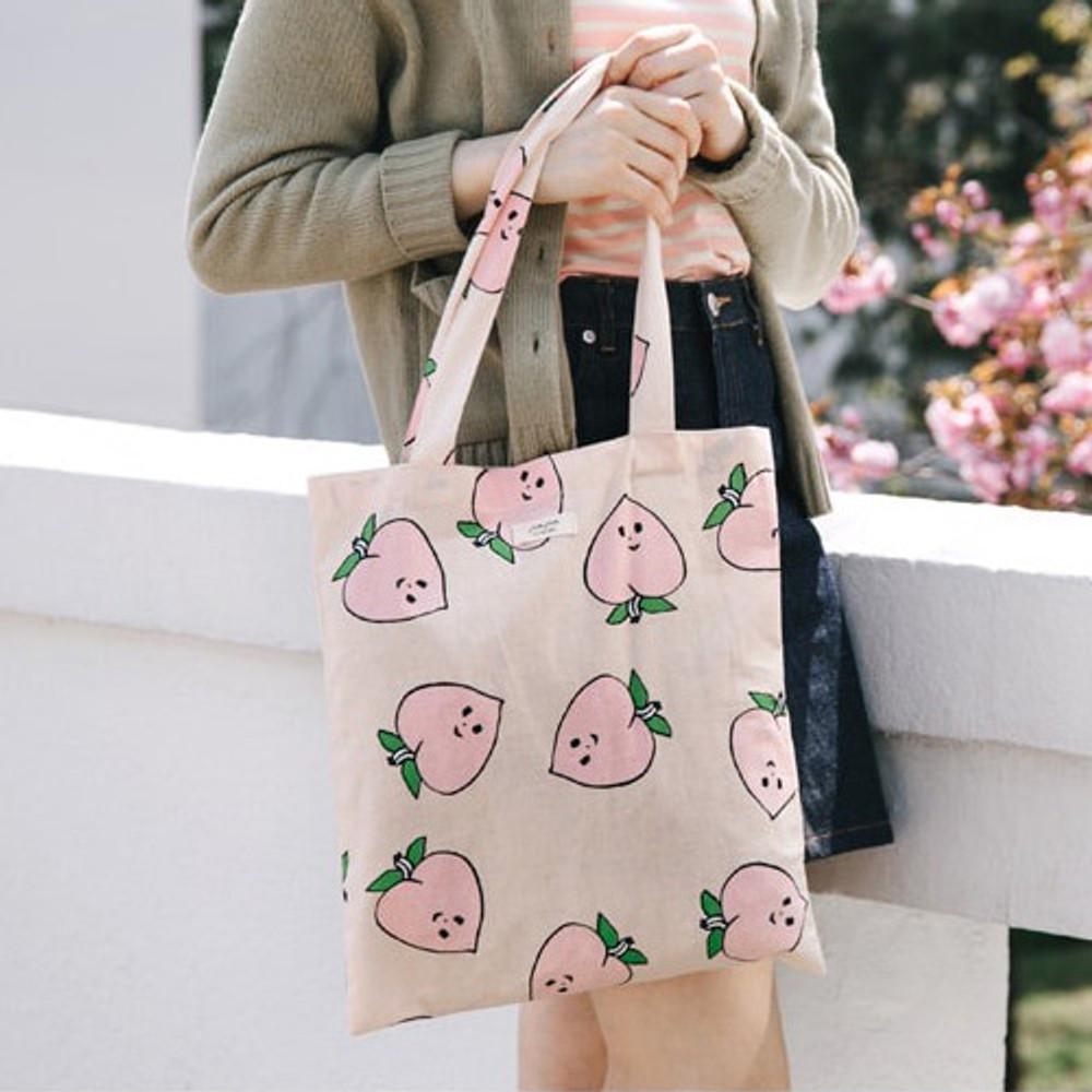 Peach - Livework Jam Jam pattern daily shoulder tote bag ver2