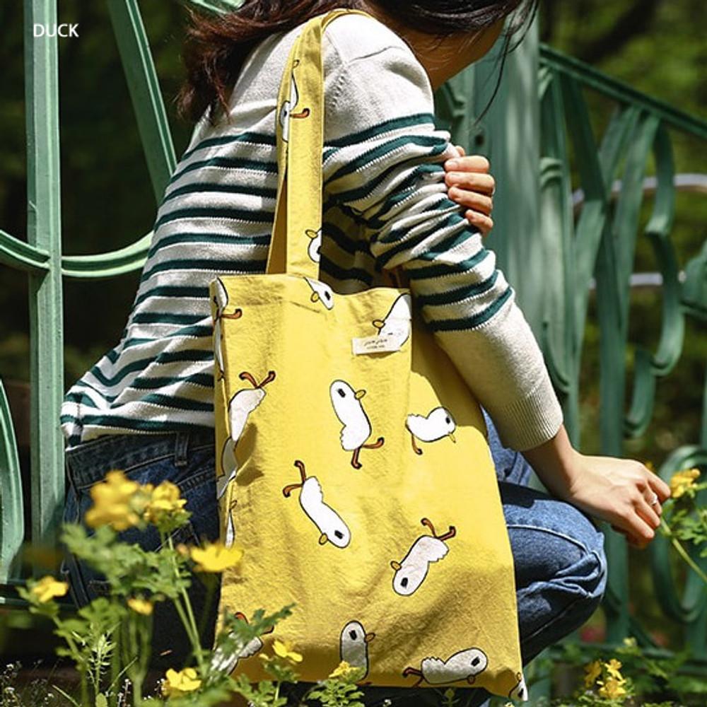 Duck - Livework Jam Jam pattern daily shoulder tote bag ver2