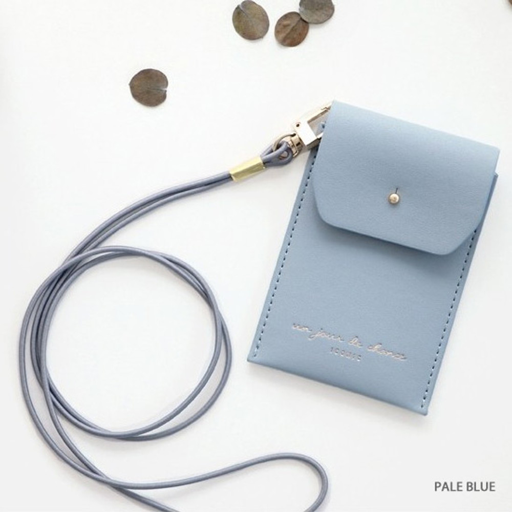Pale blue - Un jour de chance slim pocket card case with neck strap