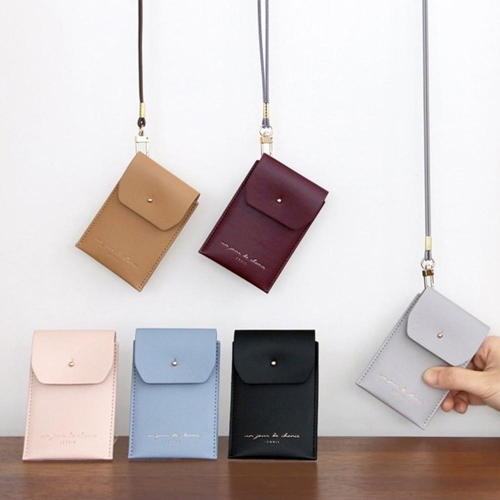 Un jour de chance slim pocket card case with neck strap