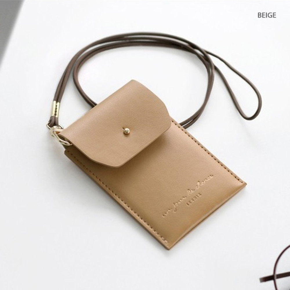 Beige - Un jour de chance slim pocket card case with neck strap