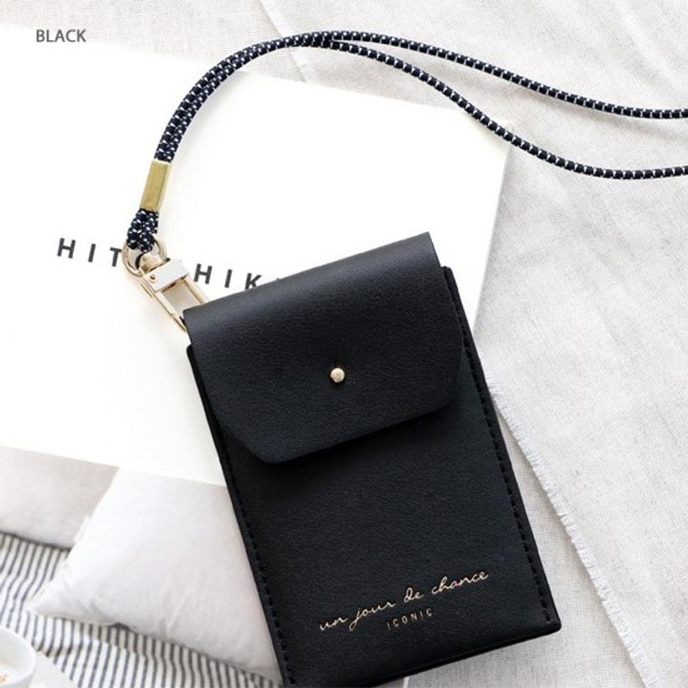Black - Un jour de chance slim pocket card case with neck strap