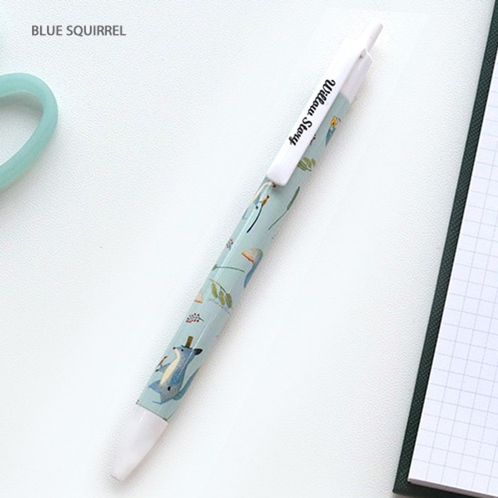 Blue squirrel - Willow pattern 0.5mm knock ballpoint pen black ink